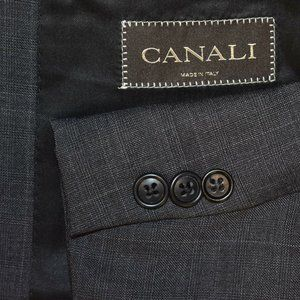 46L Canali Dark Gray Plaid 2 Button 2 PIECE SUIT